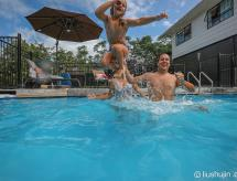 Swimming pool view and new furnished room, Auckland